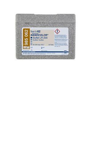 NanoColor® Sírany LR 200 Rozsah20 – 200 mg/l SO42- Přidáním barnatých solí vytváří síran těžko rozpustný síran barnatý.Vzniklý zákal se měří fotometricky při 585 nm. Fotometrické stanovení odpovídáDIN ISO 15923-1:2014-07.